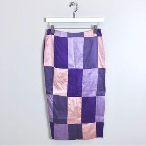Purple Checkered Pencil Skirt Medium Vintage